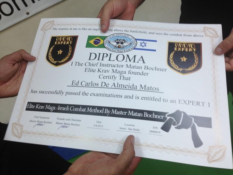 awarding the rank expert to ed carlos de alameda matos elite  awarding the rank expert 1 to ed carlos de alameda matos elite krav maga representative in